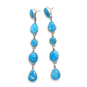 SOLD Long Navajo Turquoise Mountain Earrings