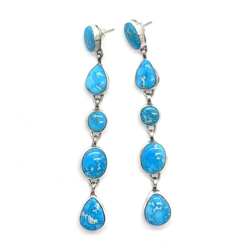 Image of Long Navajo Turquoise Mountain Earrings
