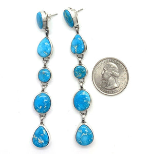 Long Navajo Turquoise Mountain Earrings