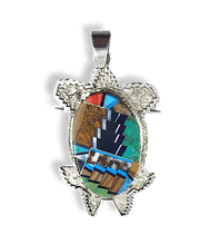 Load image into Gallery viewer, Medium Navajo Multi Stone Turtle Pendant by Tommy Jackson