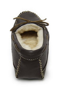 Minnetonka Men's Sheepskin Moose Moccasin Chocolate 3752
