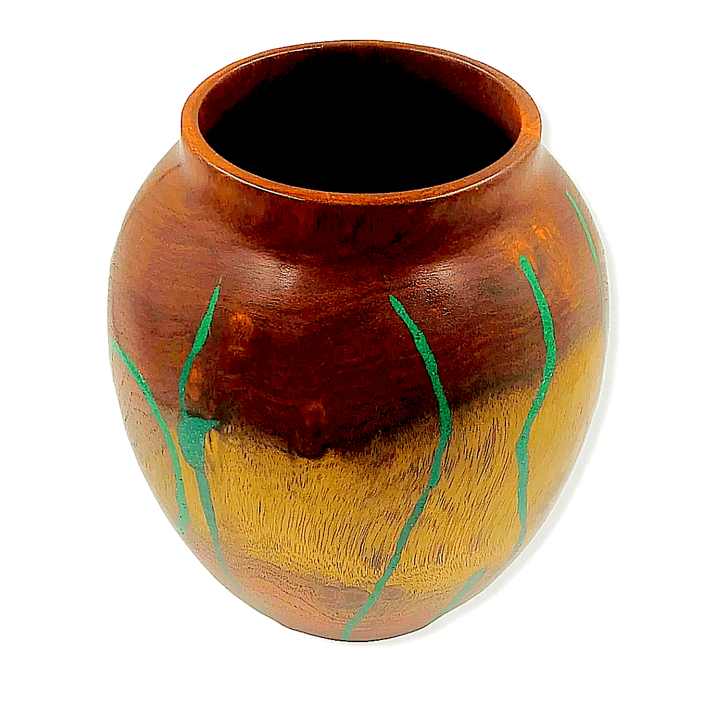 Mesquite,  Turquoise Wood Turned Vessel By S. Heath