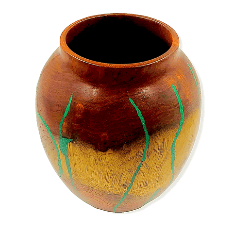 Image of Mesquite,  Turquoise Wood Turned Vessel By S. Heath