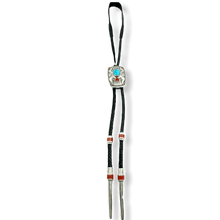 Load image into Gallery viewer, Michael Perry Kingman Turquoise & Coral Bolo Tie-Navajo