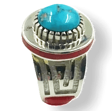 Load image into Gallery viewer, Michael Perry Navajo Coral & Kingman Ring