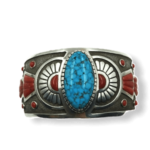 Michael Perry Navajo Coral & Kingman Turquoise Bracelet