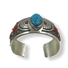 Load image into Gallery viewer, Michael Perry Navajo Coral & Kingman Turquoise Bracelet