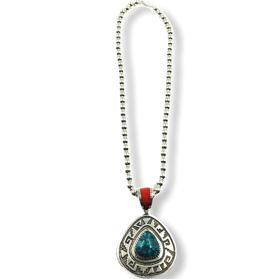 Michael Perry Pendant W/ Silver Beads Navajo Necklace