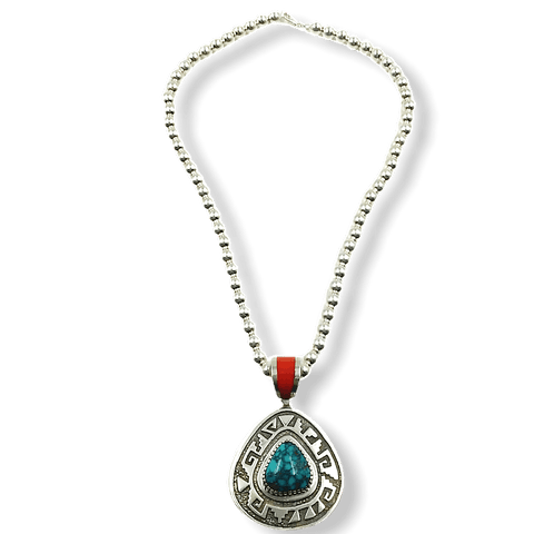 Image of Michael Perry Pendant W/ Silver Beads Navajo Necklace