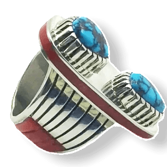 Image of Michael Perry Turquosie & Coral Ring -Navajo
