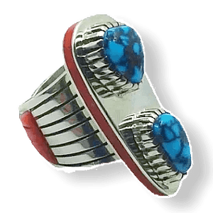Michael Perry Turquosie & Coral Ring -Navajo