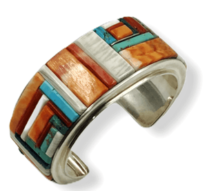 Multi Color Navajo Cobble Stone Bracelet-Wide