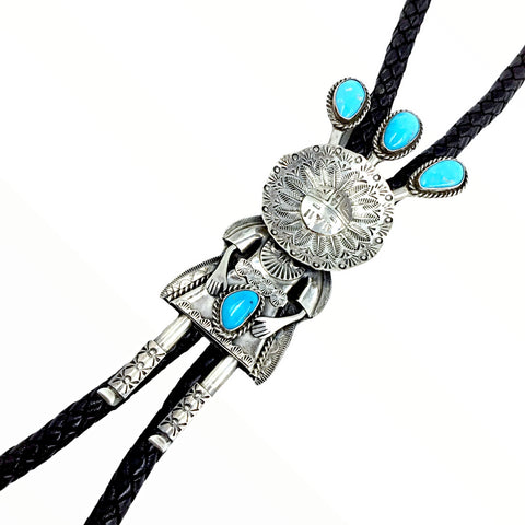 Image of Native American Bolo Tie - Large Navajo Kachina Turquoise Sterling Silver Bolo Tie - Native American