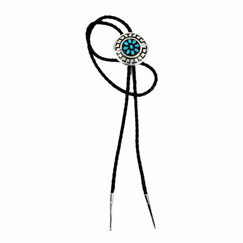 Native American Bolo Tie - Navajo Round Sleeping Beauty Turquoise Cluster Engraved Sterling Silver Bolo Tie - Roscott - Native American
