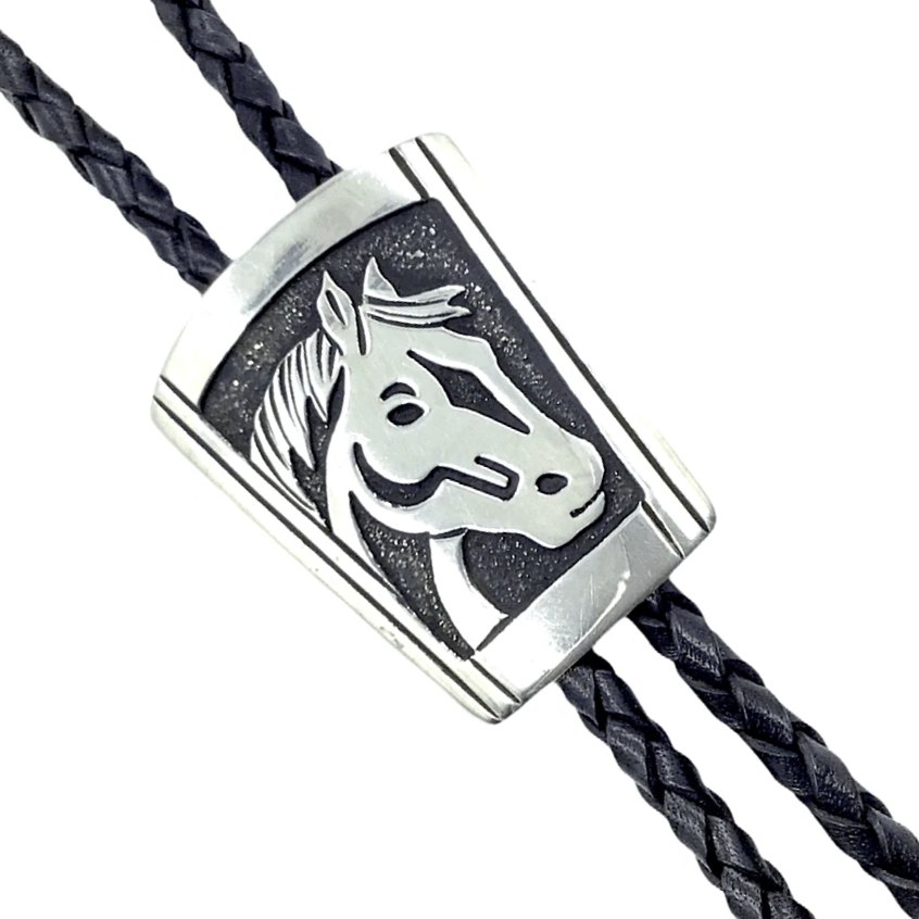 Native American Bolo Tie - Navajo Sterling Horse Bust Bolo Tie - T & R Singer