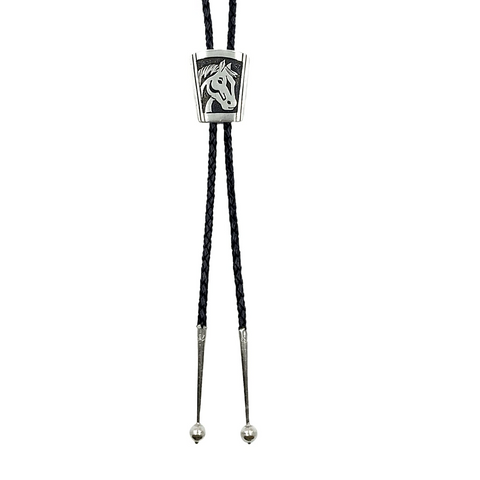 Image of Native American Bolo Tie - Navajo Sterling Horse Bust Bolo Tie - T & R Singer