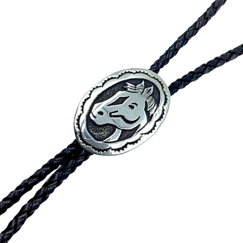Image of Native American Bolo Tie - Navajo Sterling Silver Horse Bust Bolo Tie - T & R Singer - Native American