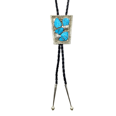 Image of Native American Bolo Tie - Zuni Turquoise Leaf Inlay Bolo Tie - L.T.