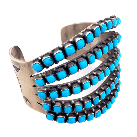 Image of Native American Bracelet - 5 Row Sleeping Beauty Turquoise Cuff Bracelet - Paul Livingston
