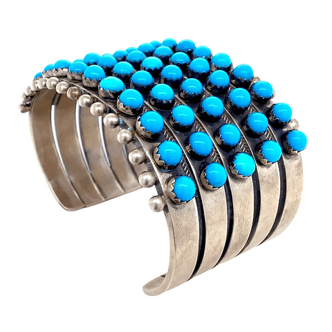 Image of Native American Bracelet - 5 Row Sleeping Beauty Turquoise Rodeo Queen Cuff Bracelet - Paul Livingston