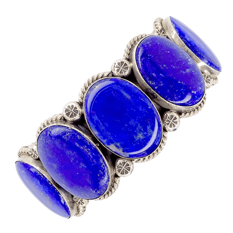 Image of Native American Bracelet - Amazing Navajo Lapis Sterling Silver Bracelet - Mary Ann Spencer