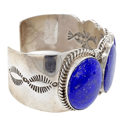 Native American Bracelet - Amazing Navajo Lapis Sterling Silver Bracelet - Mary Ann Spencer