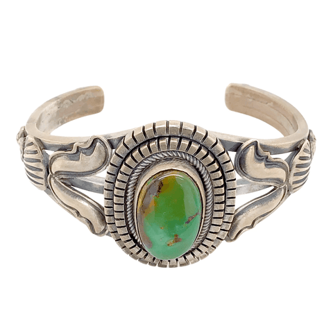 Image of Native American Bracelet - Beautiful Navajo Royston Turquoise Sterling Silver Bracelet - Ray Bennett