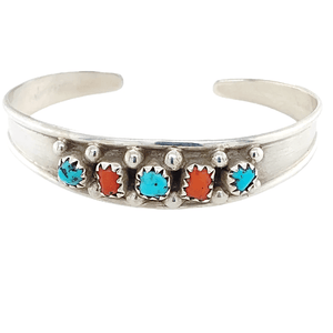 Native American Bracelet - Children's Navajo Five Stone Multistone Coral And Turquoise Bracelet - Elton Cadman