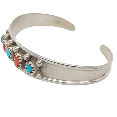 Image of Native American Bracelet - Children's Navajo Five Stone Multistone Coral And Turquoise Bracelet - Elton Cadman