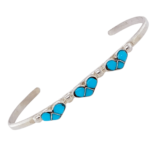 Native American Bracelet - Children's Zuni Heart Inlay Sleeping Beauty Turquoise Bracelet