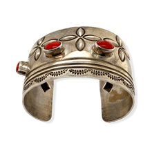 Load image into Gallery viewer, Native American Bracelet - Early Alex Sanchez Navajo Pawn Coral Cuff Bracelet