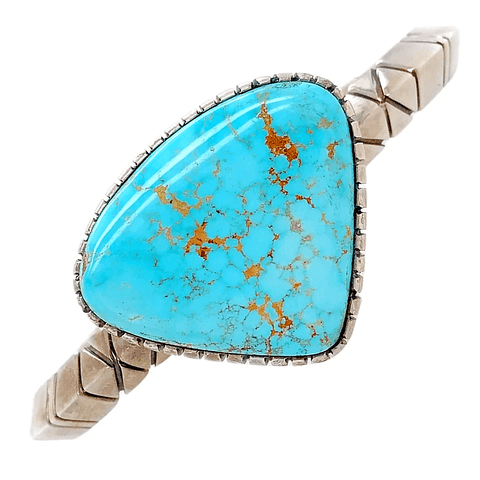 Image of Native American Bracelet - Fine High Bezeled Navajo Number 8 Turquoise Sterling Bracelet