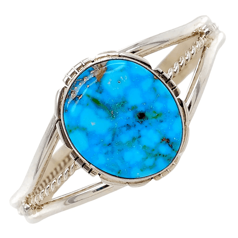 Image of Native American Bracelet - Fine Navajo High Grade Kingman Spider Web Turquoise Sterling Bracelet - Samson Edsitty