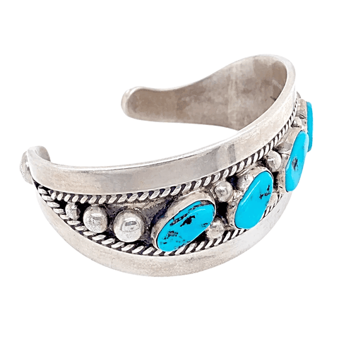 Image of Native American Bracelet - Five Stone Sleeping Beauty Turquoise Bracelet - Navajo Pawn