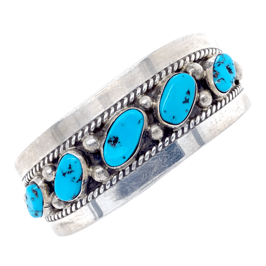 Native American Bracelet - Five Stone Sleeping Beauty Turquoise Bracelet - Navajo Pawn