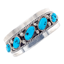 Load image into Gallery viewer, Native American Bracelet - Five Stone Sleeping Beauty Turquoise Bracelet - Navajo Pawn