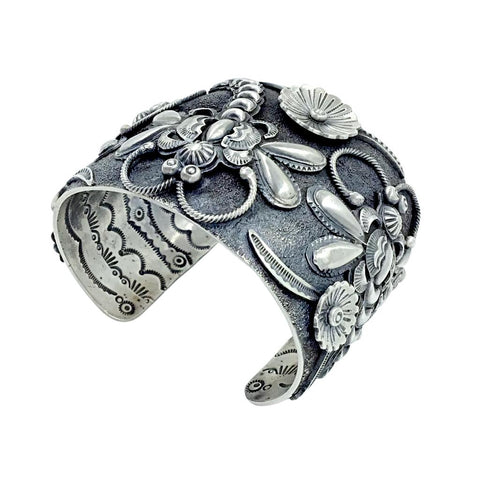 Native American Bracelet - Gorgeous Navajo Dragonfly Sterling Silver Cuff Bracelet - Larry Martinez Chavez - Native American