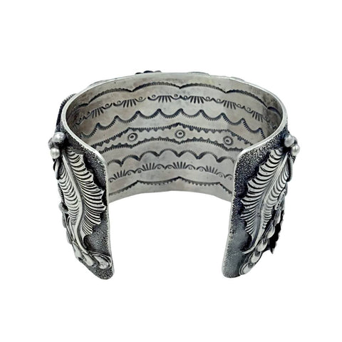 Image of Native American Bracelet - Gorgeous Navajo Dragonfly Sterling Silver Cuff Bracelet - Larry Martinez Chavez - Native American