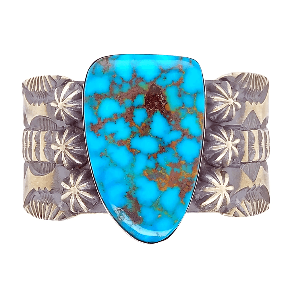 Native American Bracelet - Kingman Spider Web Turquoise And Silver Cuff Bracelet By: Mark Antia