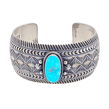 Load image into Gallery viewer, Native American Bracelet - Kingman Turquoise Sunrise Spike Navajo Silver Cuff - Aaron Toodlena