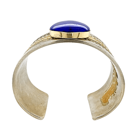 Native American Bracelet - Lapis 14K Gold And Silver Cuff Bracelet - Mark Antia