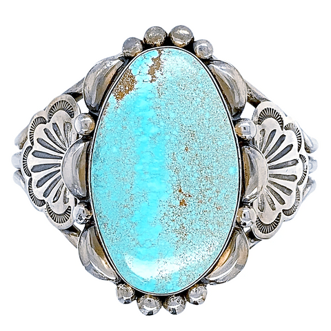 Native American Bracelet - Large Gorgeous Navajo Number 8 Turquoise Sterling Silver Bracelet - Mary Ann Spencer