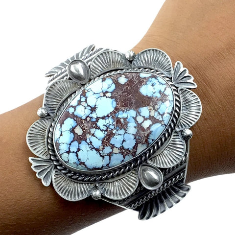 Image of Native American Bracelet - Large Navajo Golden Hills Turquoise Heavy Matrix Stamped Sterling Silver Cuff Bracelet - Mary Ann Spencer - Native American