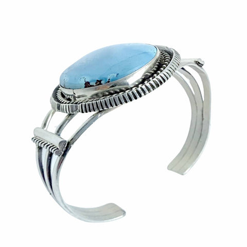 Native American Bracelet - Large Navajo Golden Hills Turquoise Oval Sterling Silver Cuff Bracelet - Lewis Silversmith - Native American