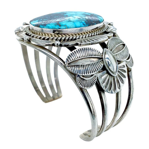Image of Native American Bracelet - Large Navajo Kingman Spider Web Turquoise Sterling Silver Cuff Bracelet - Mary Ann Spencer