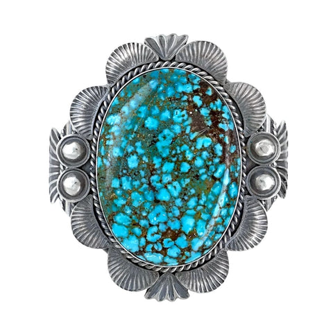 Image of Native American Bracelet - Large Navajo Kingman Spiderweb Turquoise Sterling Silver Cuff Bracelet - Mary Ann Spencer - Native American