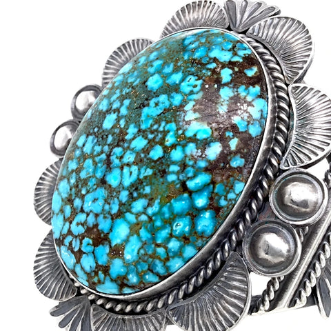 Native American Bracelet - Large Navajo Kingman Spiderweb Turquoise Sterling Silver Cuff Bracelet - Mary Ann Spencer - Native American