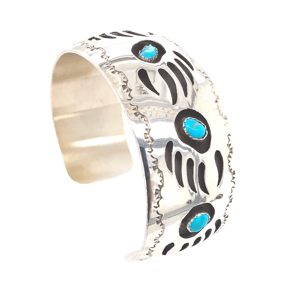 Details about  /Native American Navajo 1970s sterling silver turquoise shadow box bear pendant