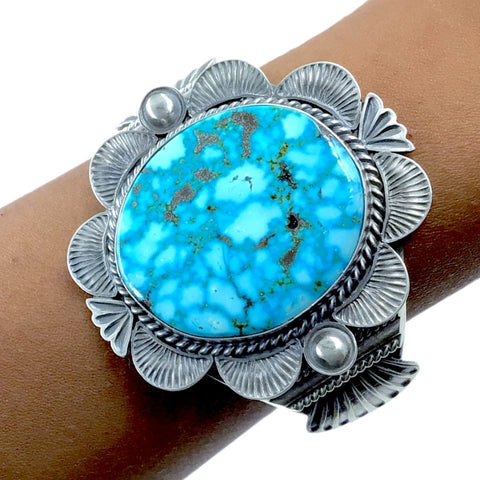 Native American Bracelet - Large Navajo Kingman Turquoise Sterling Silver Cuff Bracelet - Mary Ann Spencer - Native American