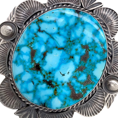 Image of Native American Bracelet - Large Navajo Kingman Turquoise Sterling Silver Cuff Bracelet - Mary Ann Spencer - Native American